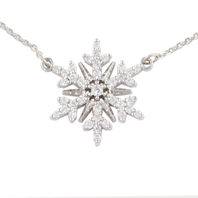 diamond snowflake necklace - diamond pave .25 ctw diamond 14K WG on adjustable chain