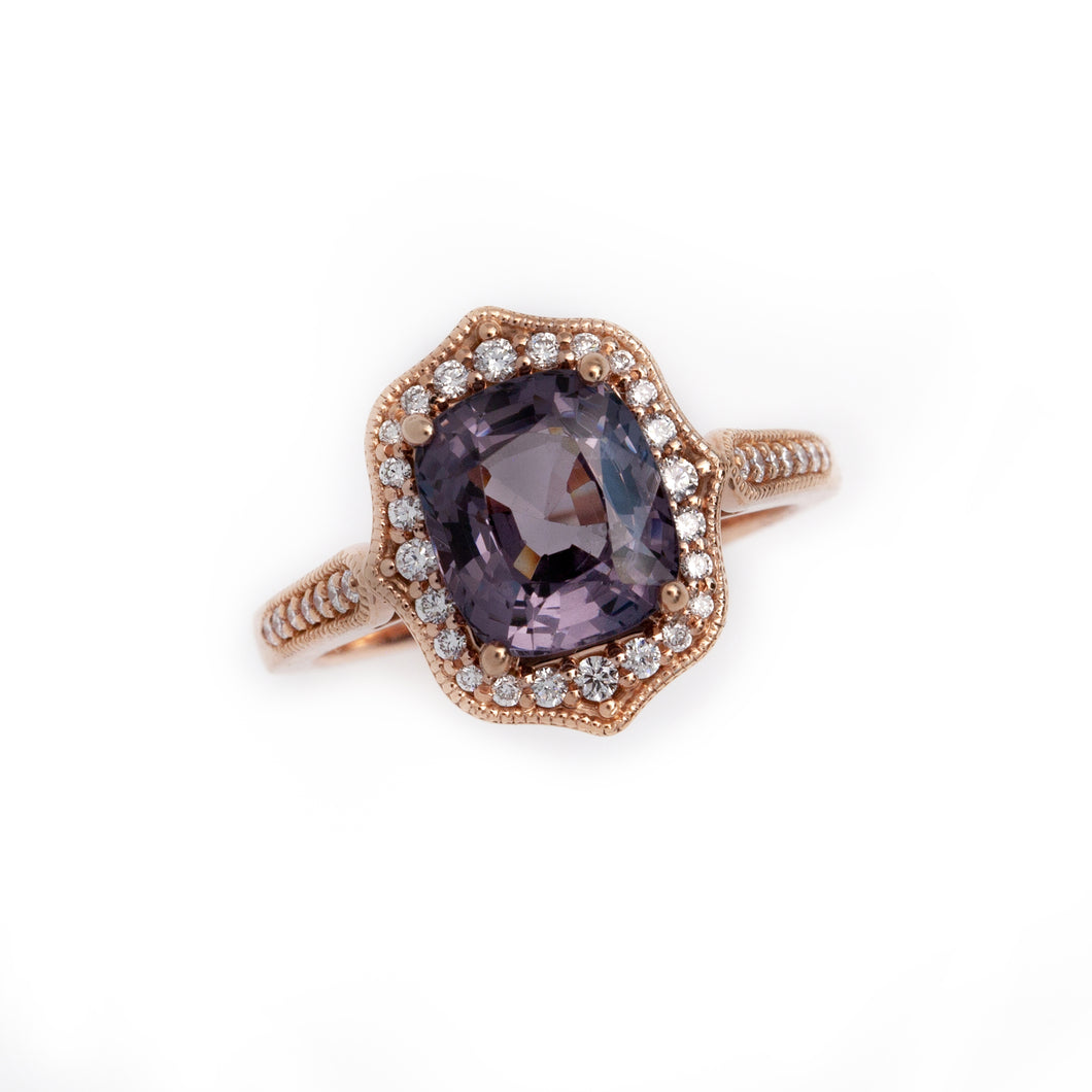 graphite plum and diamond ring in rose gold