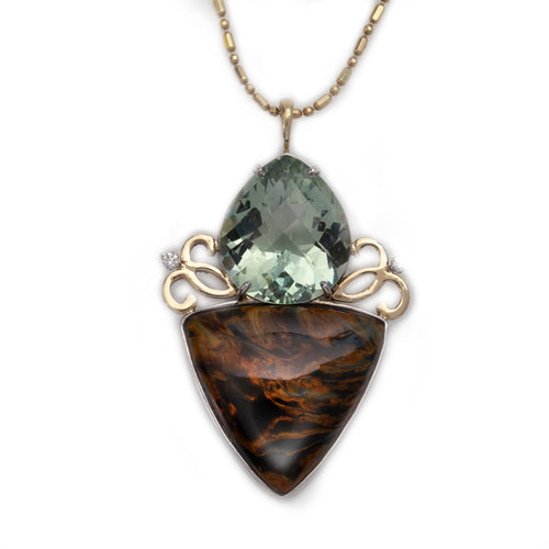 green amethyst diamand pietersite necklace in 14K TT gold