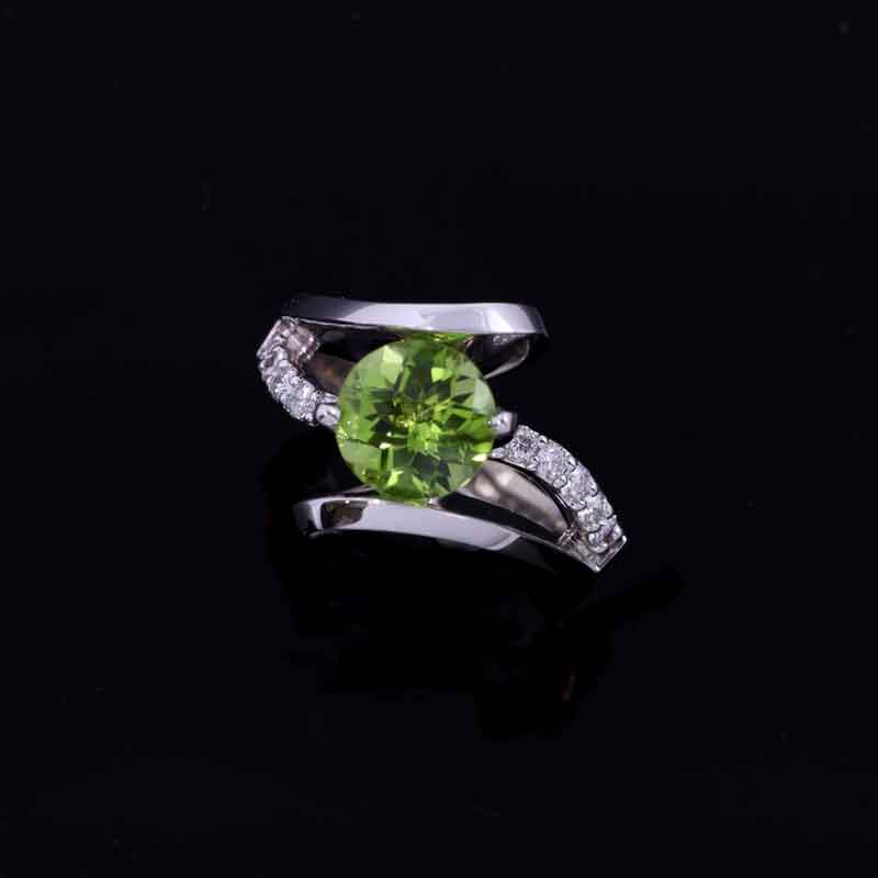 Peridot Diamond By pass Diamond Ring 14K WG