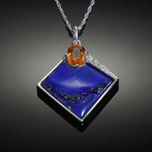 Lapis Inlay Pendant with Spessartite garnet and diamonds - 14K WG