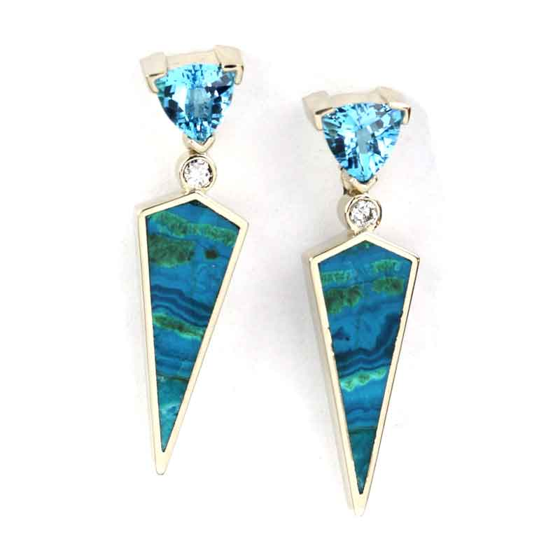 Blue Topaz Diamond Malachite Azurite Earrings