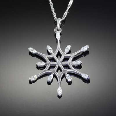 Marquise Diamond Snowflake - diamond snowflake 14K WG diamonds