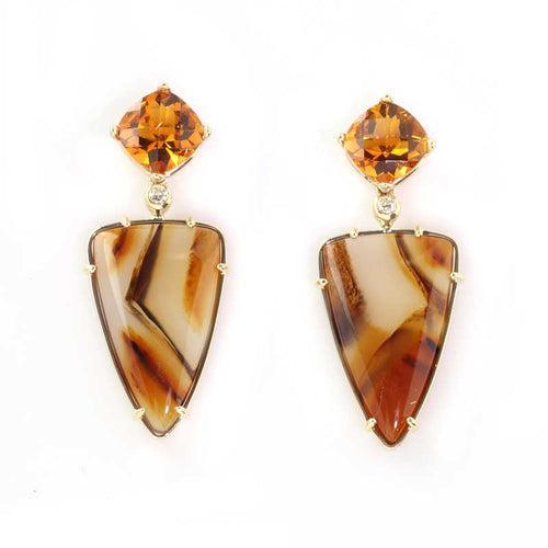 Citrine and Montana Atage Inlay Earrings with Diamonds 14K YG