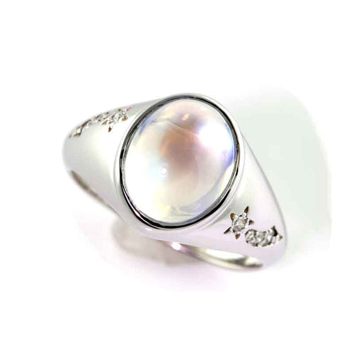 Moonstone Ring with shooting stars with diamonds 14K WG