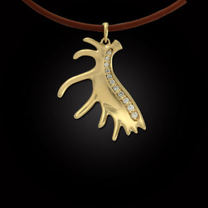 Moose antler pendant 14K YG diamonds