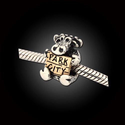 Moose with Park City sign TT - sterling silver 10K yg