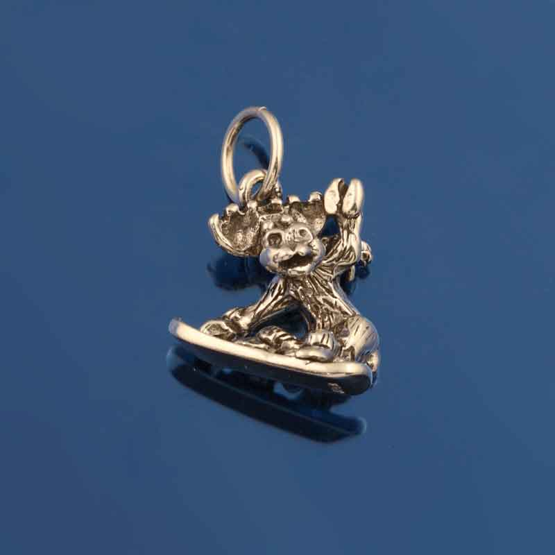 Moose snowboarder charm sterling silver