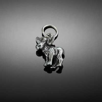 moose charm moose bead charm sterling silver