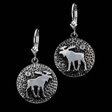 Load image into Gallery viewer, Moose Disk Earrings SS Sterling Silver with cyrstal