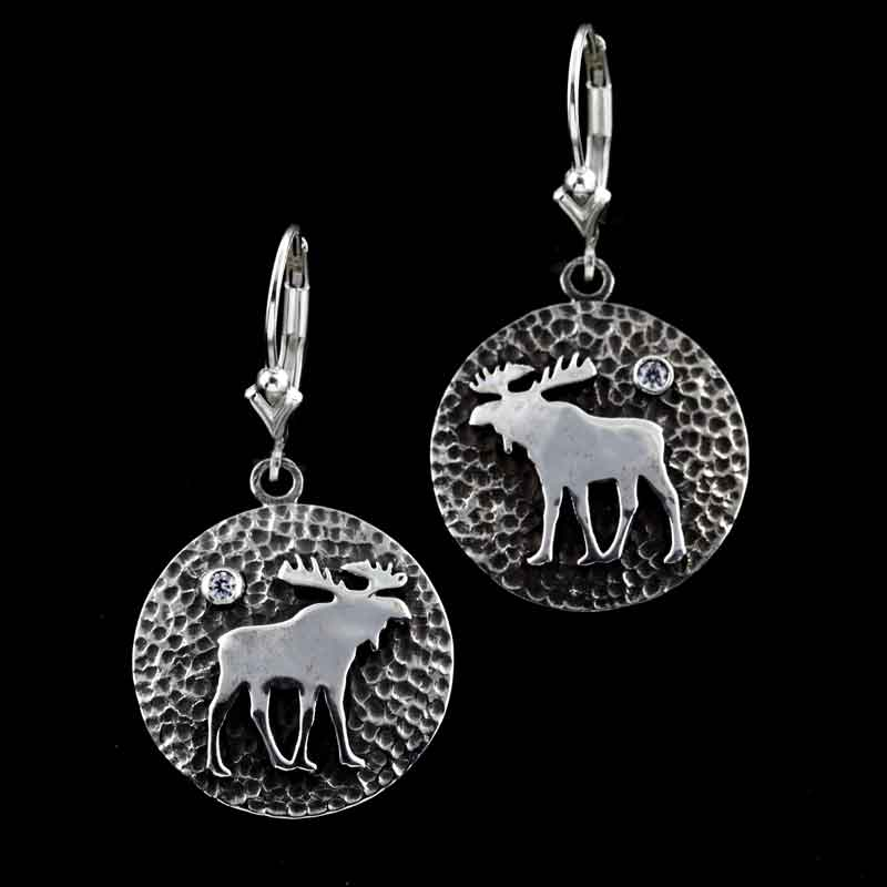 Moose Disk Earrings SS Sterling Silver with cyrstal
