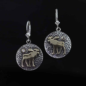 Moose disk earrings TT  Sterling silver 10K YG