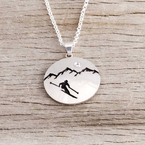 Mountain Domed Disk Customizable Necklace