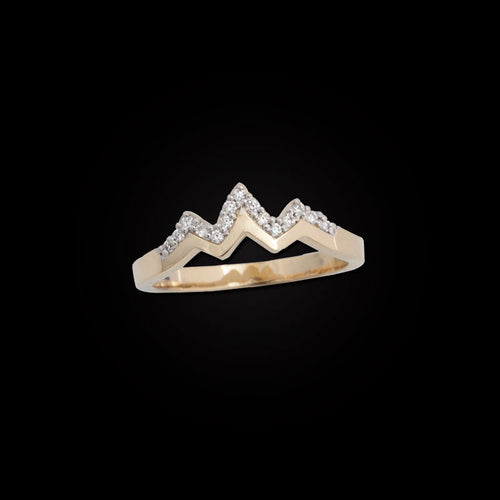 Pave Diamond Mountain RIng - 14K Yellow gold