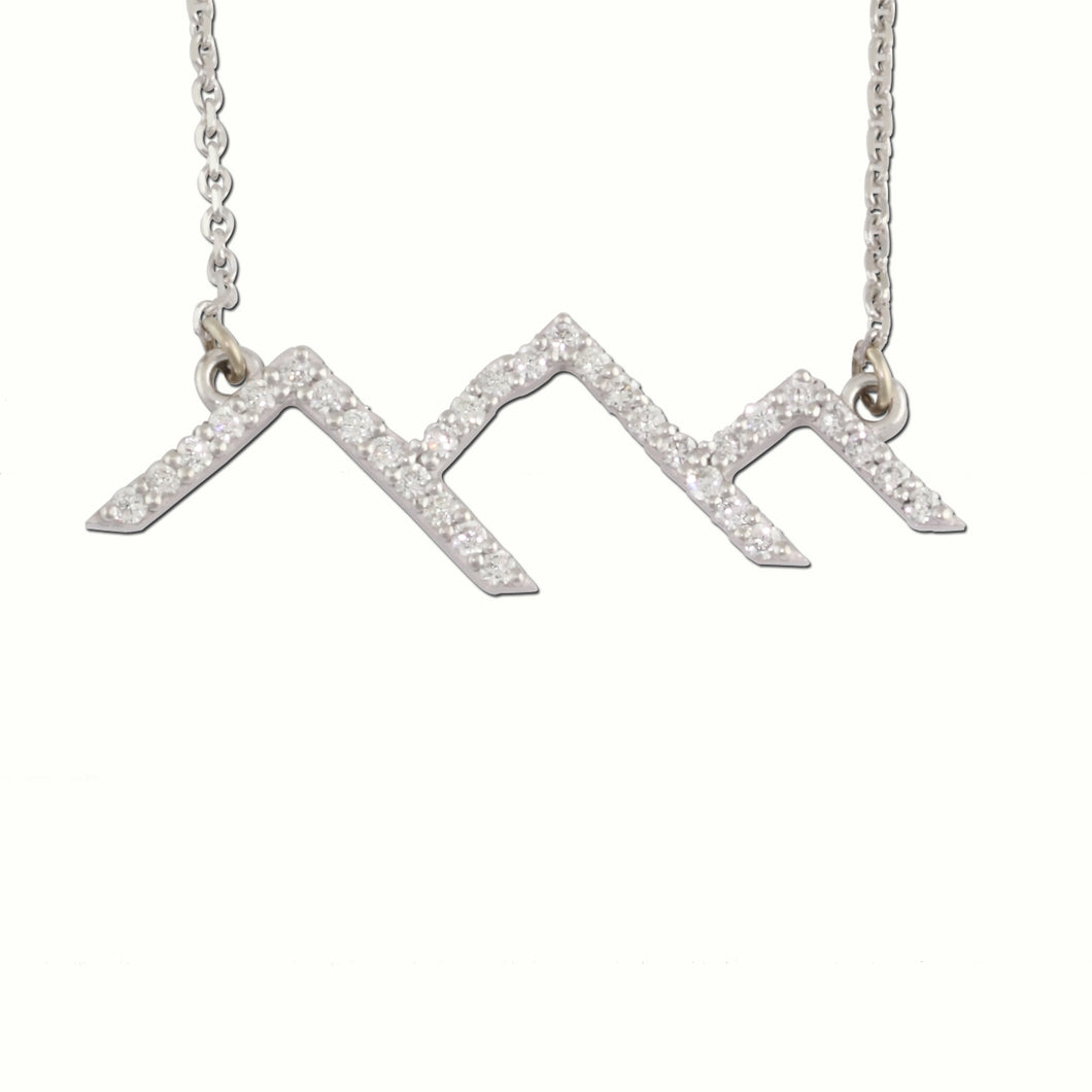 Diamond Pave Mountain Silhouette Necklace Park City 14K WG Diamonds