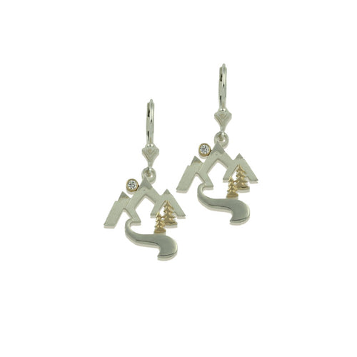 Mountain stream earrings sterling silver with 10K YG crystal leverback
