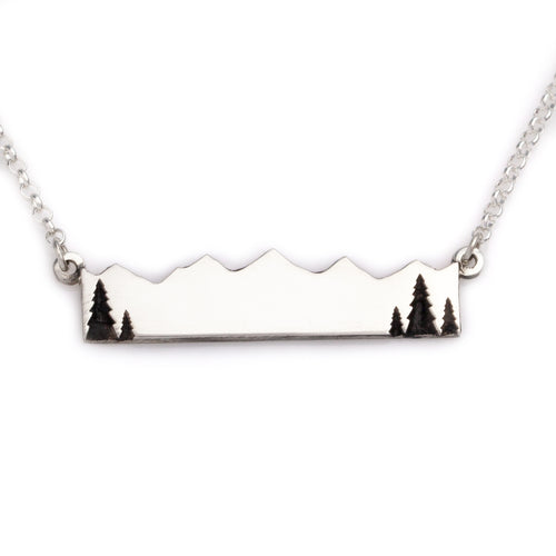 Mountain bar necklace with trees add your image or text