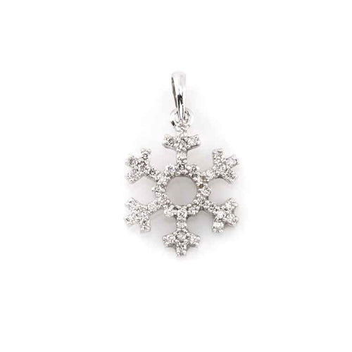 pave snowflake open center 14K WG  diamonds