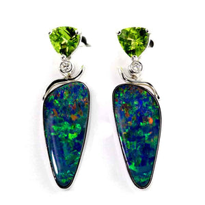 Boulder Opal Earrings with Peridot and Diamond 14K WG