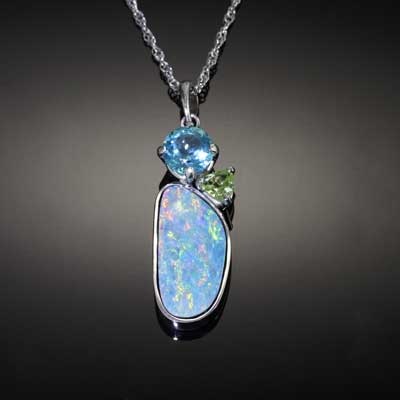 Opal Inlay Pendant with Apatite and Peridot  - 14K WG