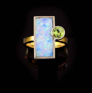 Peridot Opal Inlay Ring 14K YG WG
