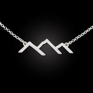 Mountain Silhouette Line Necklace - sterling silver adjustable ss chain