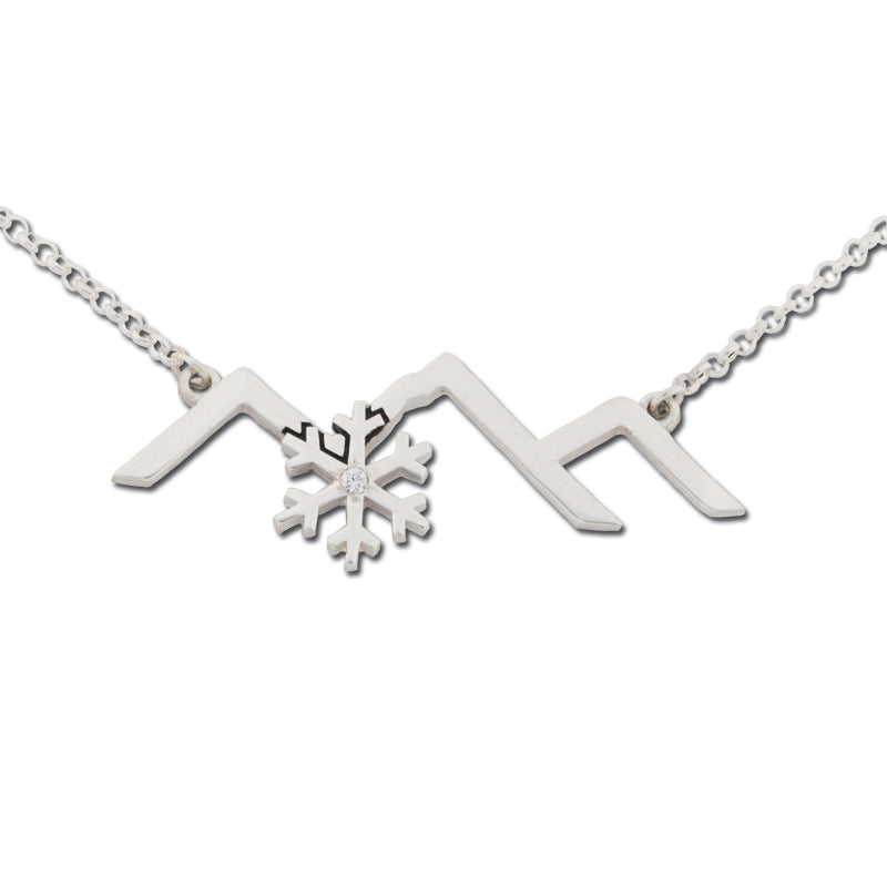 Mountain Silhouette Line Necklace  with snowflake - sterling silver adjustable ss chain