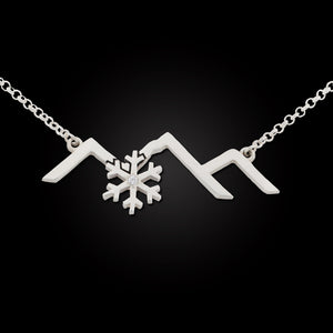 Snowflake mountain silhouette necklace sterling silver crystal