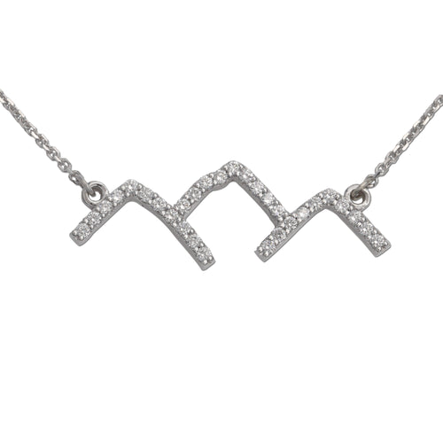 diamond pave mountain necklace mountain silhouette necklace mountain jewelry