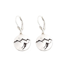 Load image into Gallery viewer, Silver mountain earrings with crystal leverback customize your own mountain earrings