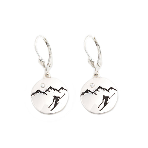 Silver mountain earrings with crystal leverback customize your own mountain earrings