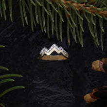 Load image into Gallery viewer, pave diamond mountain ring 14k gold mountain jewelry