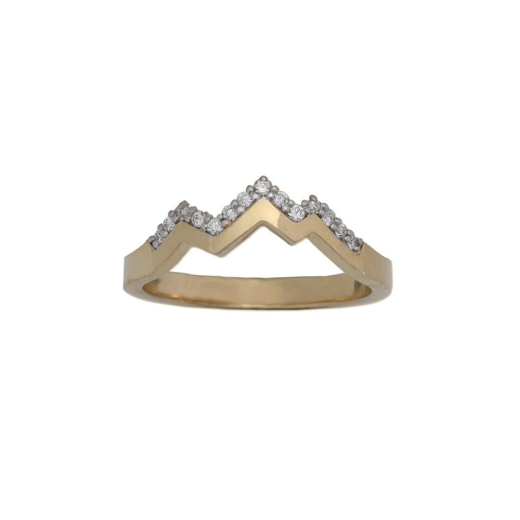 pave diamond mountain ring 14k gold mountain jewelry