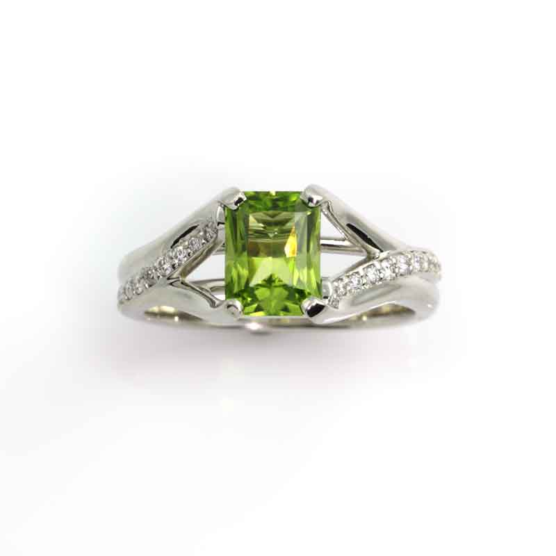Radiant Cut Peridot and Diamond Ring