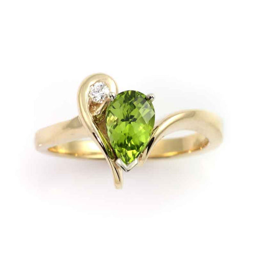 Peridot Diamond Almost Knot ring 14K YG