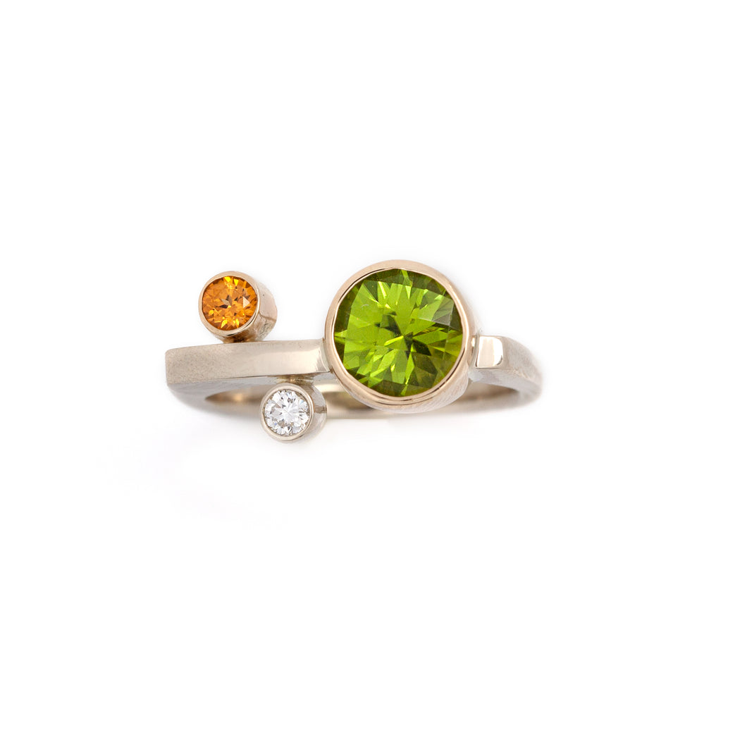 Peridot Spessartite Diamond Ring square cut 14K TT gold