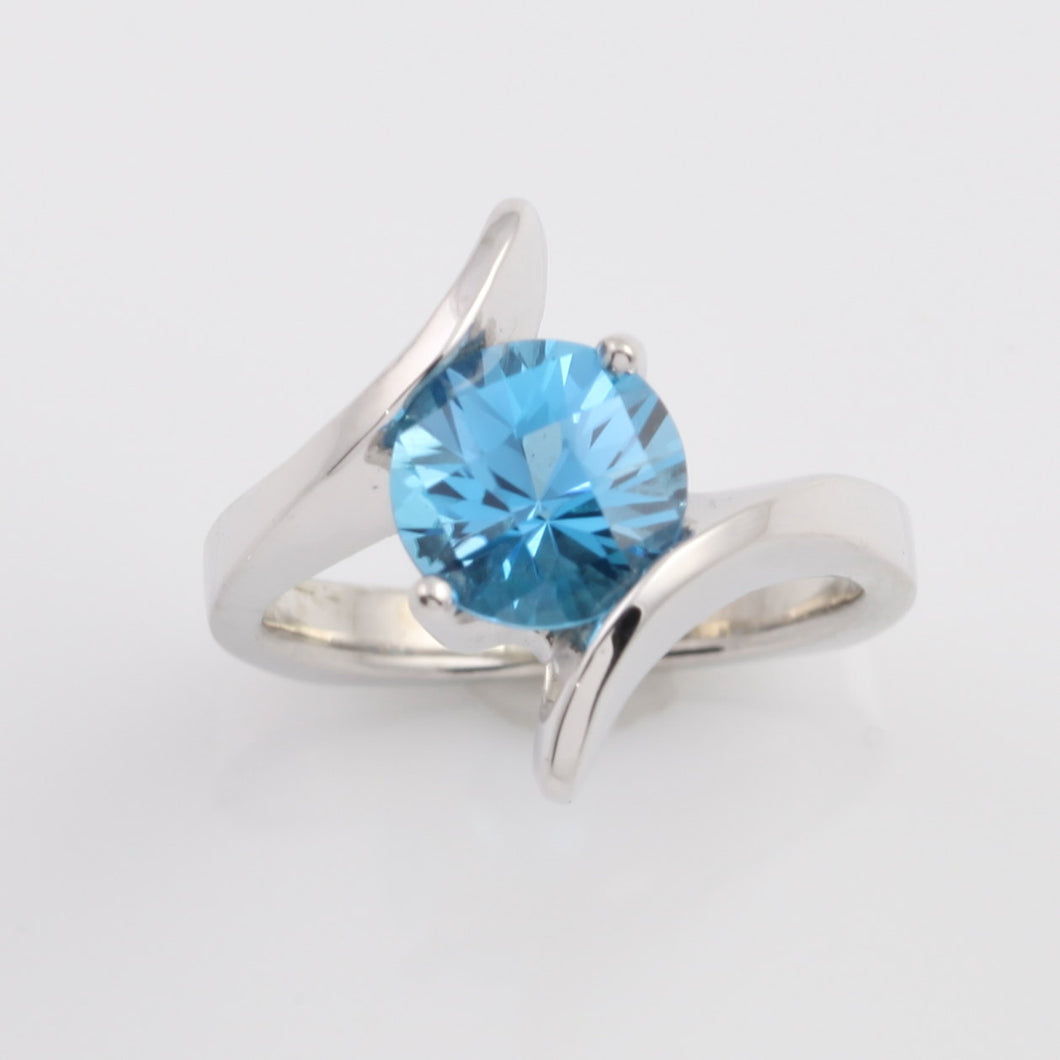 Blue Topaz twist ring 14K WG