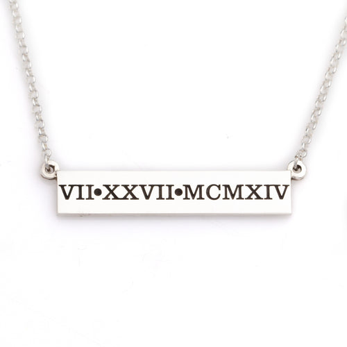Roman Numeral wedding date bar necklace roman numeral jewelry
