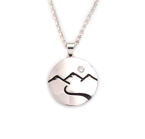 mountain scene domed necklace with crystal sterling silver