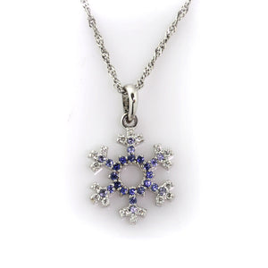 pave diamond sapphire snowflake with open center diamonds sapphires