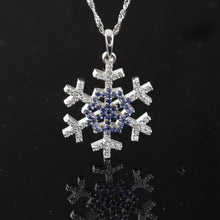 Load image into Gallery viewer, Diamond Sapphire Pave Snowflake Necklace 14K WG sapphires