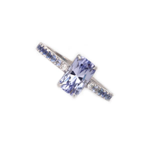 Montana Sapphire Diamond Ring with diamonds and fading blue sapphires