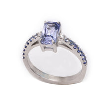 Load image into Gallery viewer, Montana Sapphire Diamond Ring with diamonds and fading blue sapphires