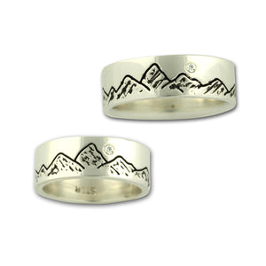 Mountain ring sterling silver crystal