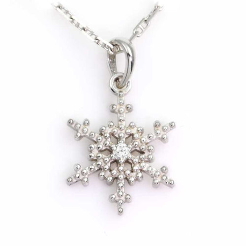 snowflake pendant single diamond beaded snowflake 14k wg