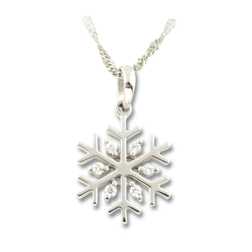Diamond snowflake pendant 14K WG diamonds