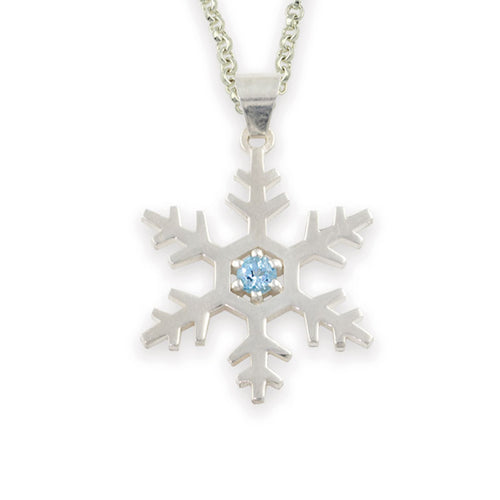 Topaz Snowflake Necklace sterling silver blue topaz