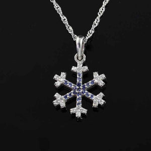 Diamond and Sapphire pave diamond snowflake small 14K WG