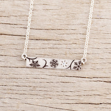 Load image into Gallery viewer, sterling silver snowflake bar necklace with crystal
