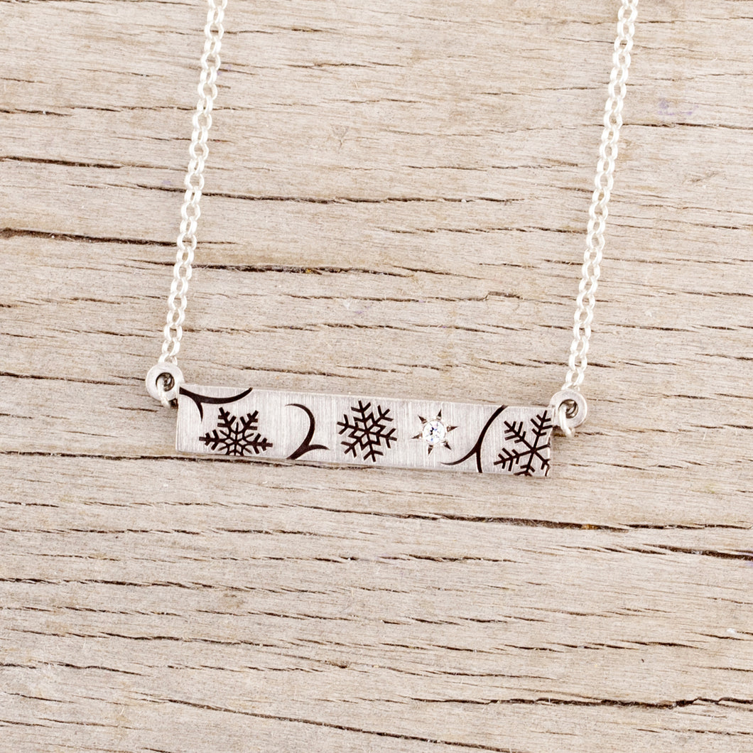 sterling silver snowflake bar necklace with crystal